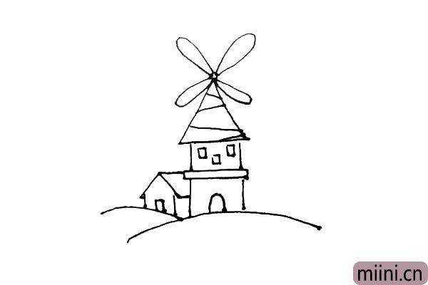 第六步:为了不让风车屋太单调,在左边画上一个小房子。
