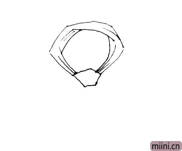 第四步:在圈的中间再画上几条线条作为布纹。