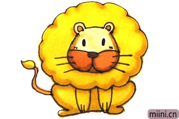 呆萌的狮子简笔画步骤教程