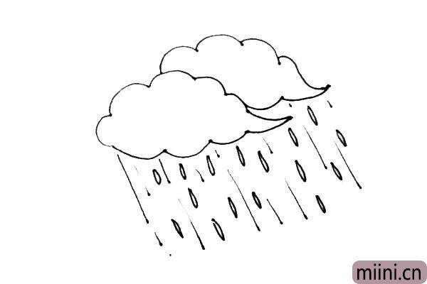 第四步:在中间,画上很多的小水滴,让它有下大雨的感觉。