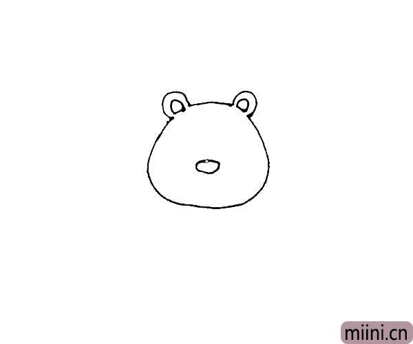 第二步:在缺口处画上一个半圆,里面再画上一个半圆作为耳朵,并在中间画上一个椭圆形的鼻子。