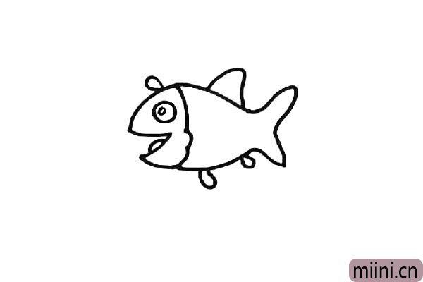 第四步:用两个圆形画出小鱼大大的眼睛。