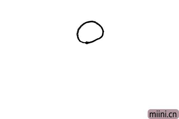 第一步:先画上一个圆形。