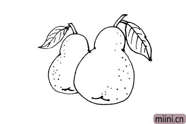 第六步:在后面,用同样的画法再画上一个梨,注意观察变化。