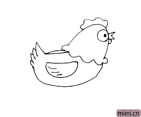 第七步:在身体中间,画上一个半圆形的翅膀,并在里面画上几条纹理。