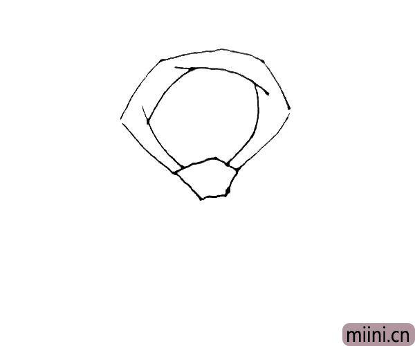 第三步:在圈里面,画上几条线条相互交错开来。