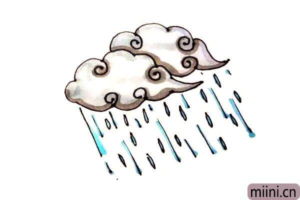 第六步:最后给画好的雨云涂上漂亮的颜色就好了。