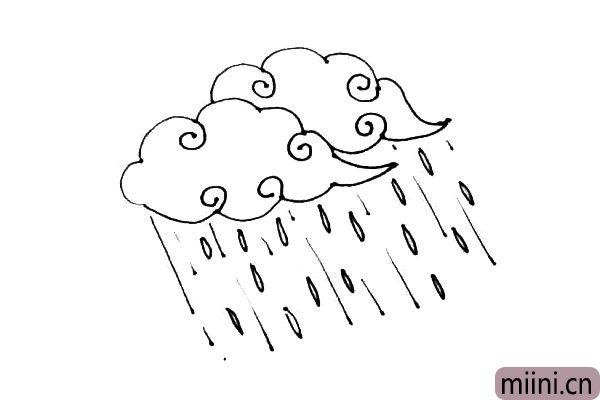 第五步:在云朵里画上一些漩涡作为装饰。
