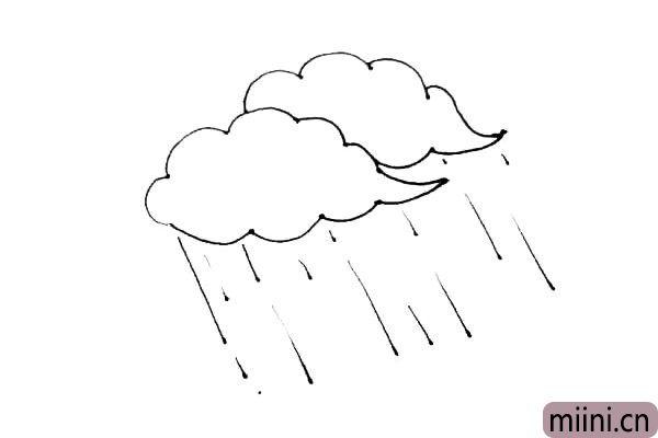 第三步:云的下面,画上长短不一的斜线,有点像细细的雨线。