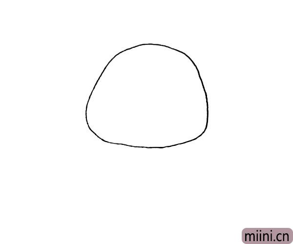 第一步:先画上一个椭圆形作为小鸡的主体。