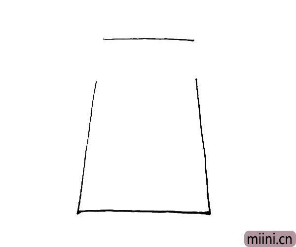 第一步:先画上一个梯形,但注意两边留有缺口。