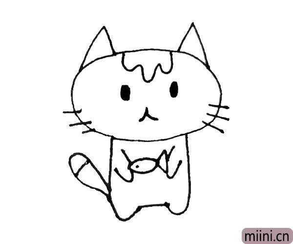 第六步:画出小猫的手和尾巴,注意尾巴上也有花纹。