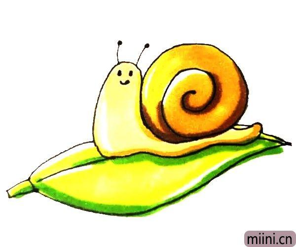 慢吞吞的黄色蜗牛简笔画步骤教程