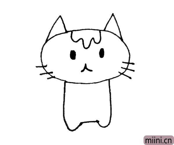 第四步:在两边画下来一条弧线,连接起来,画出小猫的身体。