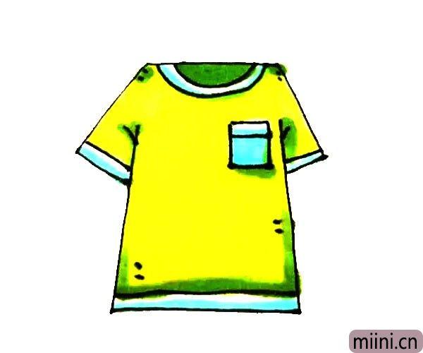 第六步:最后给短袖涂上漂亮的颜色,短袖就画好了。