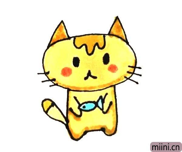 第七步:最后给画好的小猫涂上漂亮的颜色就好了。