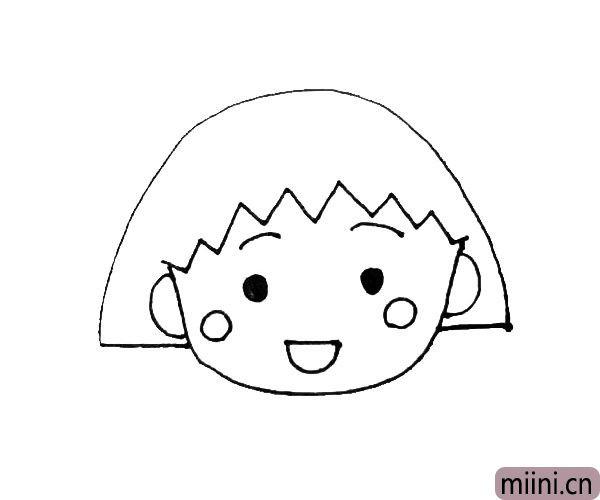 第五步:脸的两旁画上两个圆形的小红晕,下面再画上一个半圆形微笑的嘴巴。