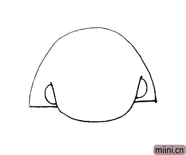 第二步:在下面的半圆旁边画上两个半圆的耳朵,以及画上一条横线连接两个半圆。