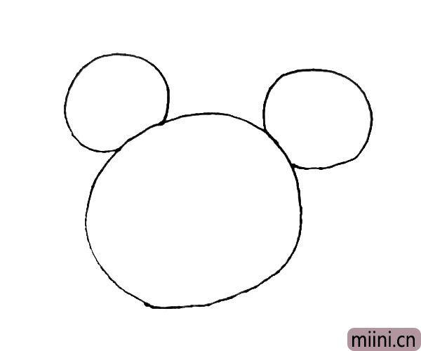 第二步:大圆的上面,在两边画上两个小圆作为耳朵。