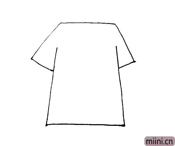 第二步:在上面的横线,画下来一个三角形,和下面的竖线相连形成袖子。
