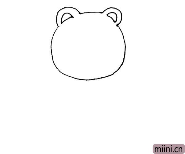 第二步:圆形的缺口处,向外画上一个半圆,里面再画上一个小一些的半圆。
