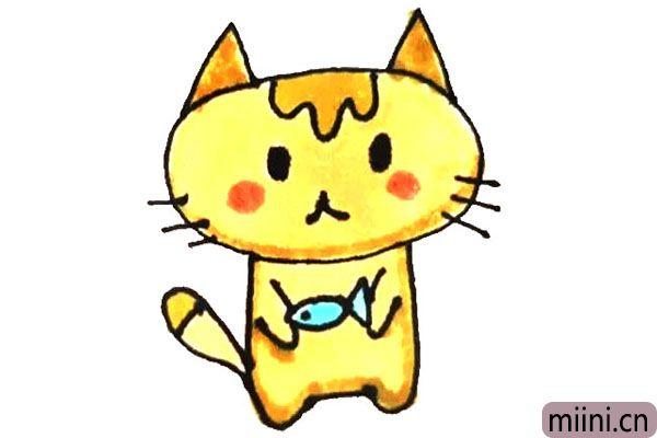 怀里抱着鱼的小猫简笔画步骤教程