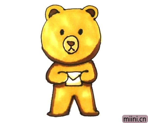第七步:最后给画好的小熊涂上漂亮的颜色就好了。