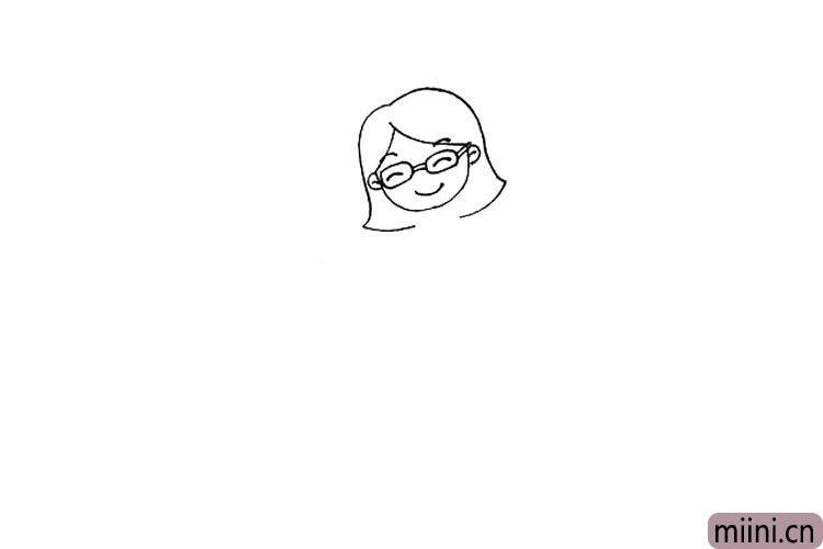 3.然后画出老师的五官和眼镜