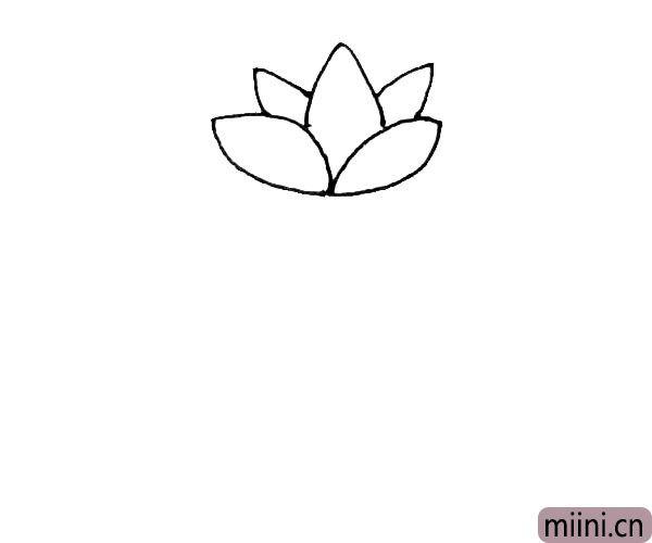 第二步:在中间,画上一个花瓣以后,两边也画出两片花瓣。