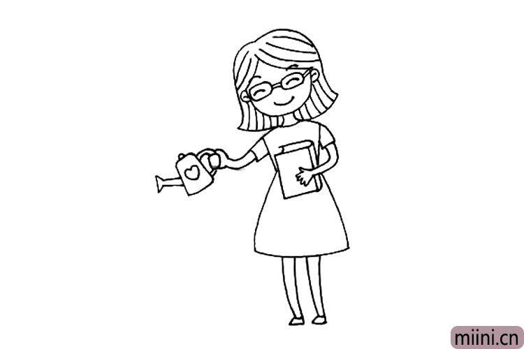 5.画出老师手里拿着的书和水壶