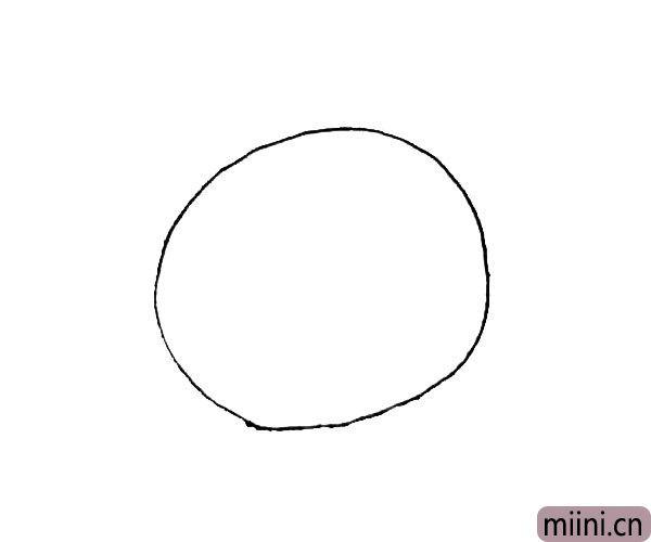 第一步:先画上一个大圆,作为米老鼠的头。