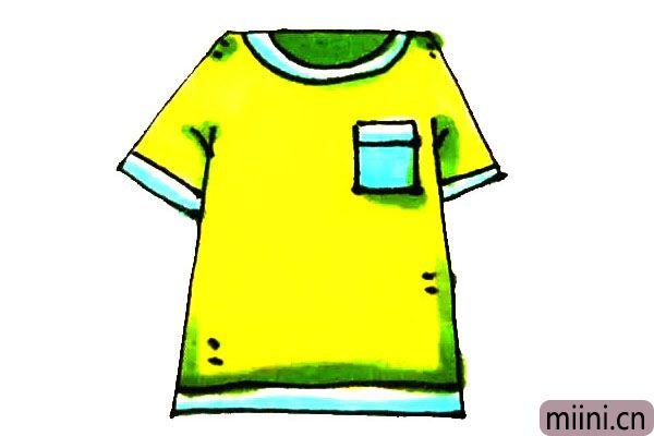 黄色的短袖T恤衫简笔画步骤教程