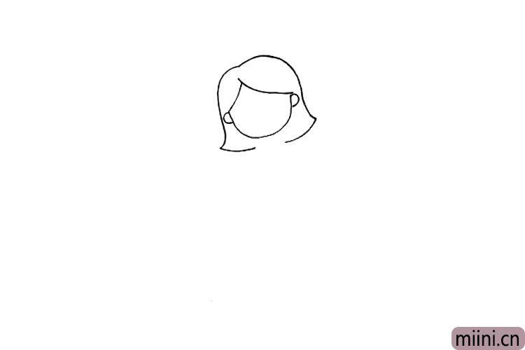 2.接着画出老师的头发