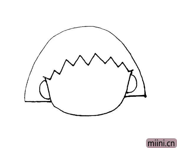 第三步:用小折线画出前额的头发。