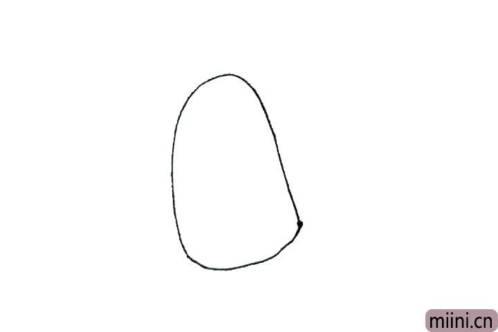 1.先画出半个椭圆形,用弧线连起来。