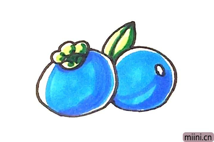 6.最后涂上好看的颜色,蓝莓就这样画好了。