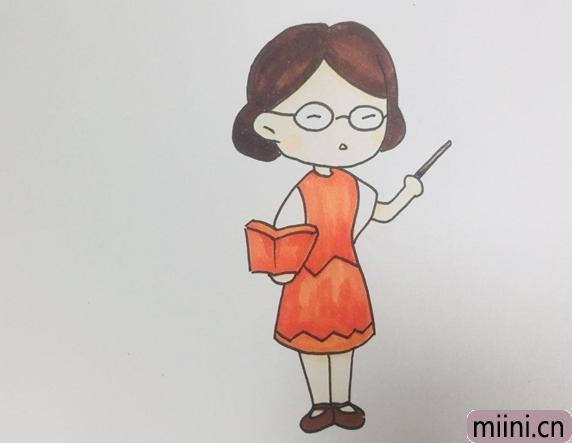 语文老师简笔画步骤教程