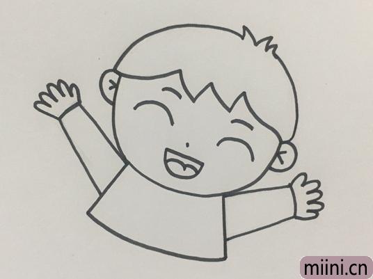 爱笑的小男孩简笔画步骤教程