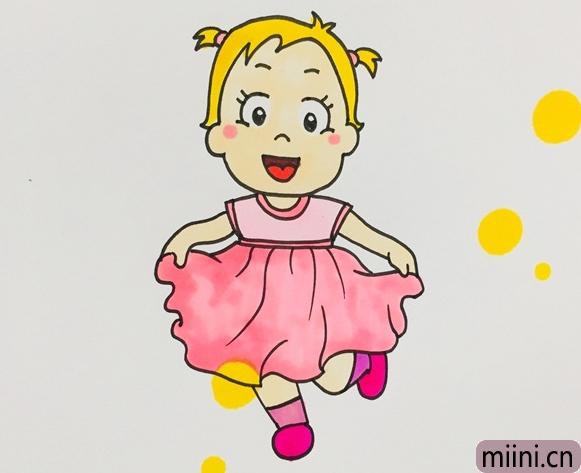 可爱的小女孩简笔画步骤教程