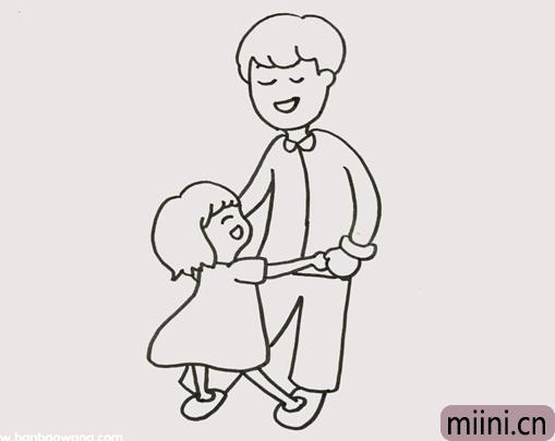 爸爸牵着女儿的简笔画