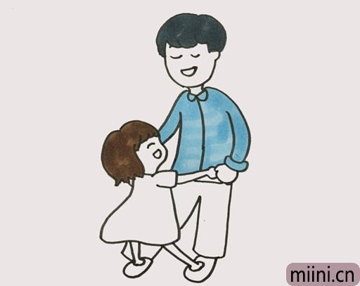 爸爸牵着女儿的简笔画步骤教程