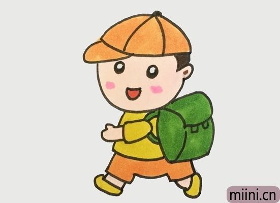 背书包上学的小男孩简笔画步骤教程