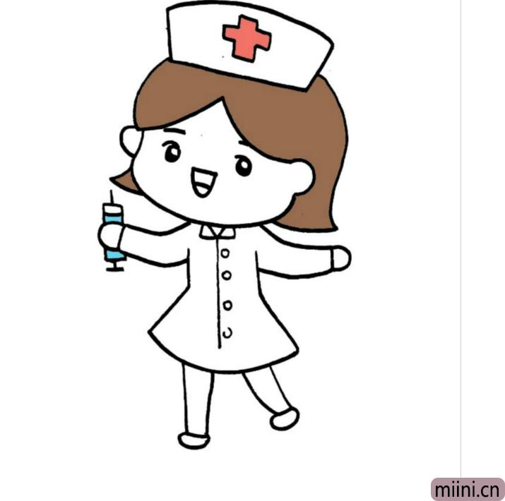 准备帮病人打针的护士简笔画步骤教程