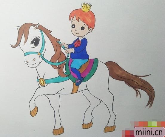 骑着白马的王子简笔画步骤教程