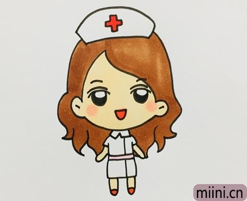任劳任怨的护士简笔画步骤教程