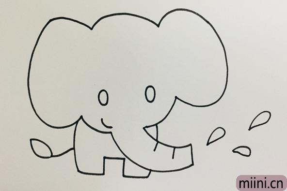 一只正在喷水的蓝色大象简笔画步骤教程