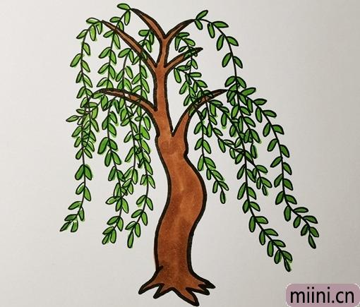 随风跳舞的柳树简笔画步骤教程