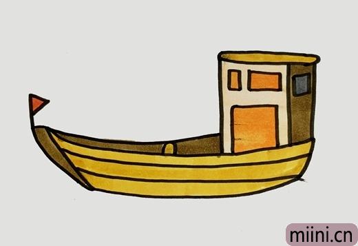 下海捕鱼的渔船简笔画步骤教程