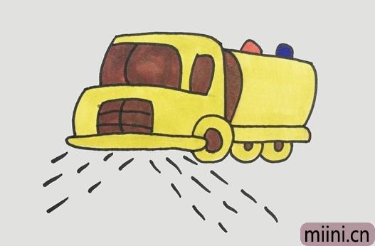 清洁城市的洒水车简笔画步骤教程