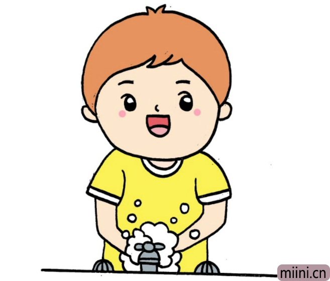 勤洗手的小朋友简笔画步骤教程